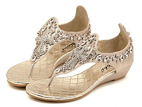Sandals On Toe Women's Gold Graceful Split Slip Sparkly Aisun 0pXqww