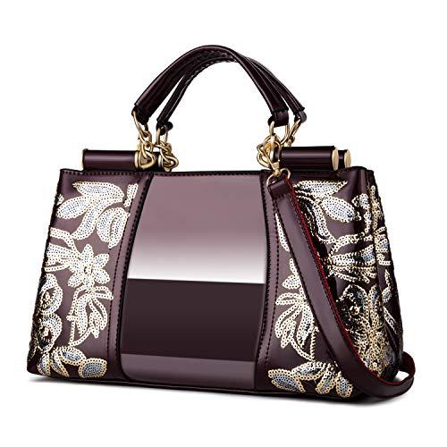 Nevenka Women Patent Leather Fashion Handbags (Wine Red)