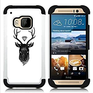 For HTC ONE M9 - deer diamond white black antlers Dual Layer caso de Shell HUELGA Impacto pata de cabra con im????genes gr????ficas Steam - Funny Shop -