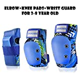 GASACIODS Kids/Child Sports Protective Gear,Colorful Shell Fabric Thickened Unzerbrechlich Designuff0cKnee Pads Elbow Pads Wrist Guards Pads Set for Skateboard Inline Roller Skating Scooter Cycling Bike