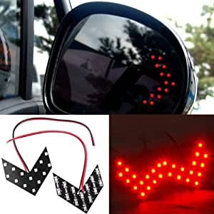 X2 Universal Fits For Car SUV Motorcycle Red Light Color 14 LED SMD Side Mirror Turn Signal Blinker Arrow Light Lamp