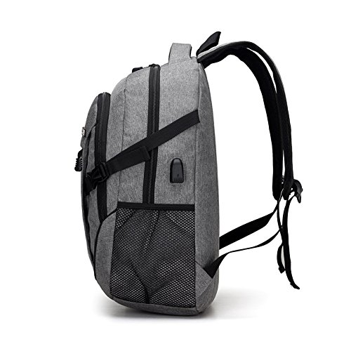 Resistant Port Polyester Charging Laptop and with Gray Water TOOGOO Gray Backpack Notebook Usb Bag Business 8FBqZwS