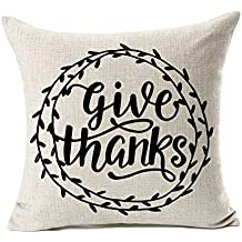 Give Thanks Thanksgiving Day Home Decor Throw Pillow Case Cushion Cover 18 x 18 Inch Cotton Linen