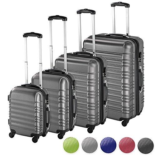 TecTake 4 teiliges ABS Reisekofferset Trolley Hartschalenkoffer 4 Rollen 360 Grad - diverse Farben - (Silber | Nr. 402025)