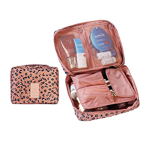 up Bags Waterproof Travel Pouch Portable Kit Organizer Pink Leopard (2 Sided Track Jacket)