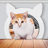 """PAWSM Interior Cat Door (Pink or White) with Clip-on Removable Grooming Brush 