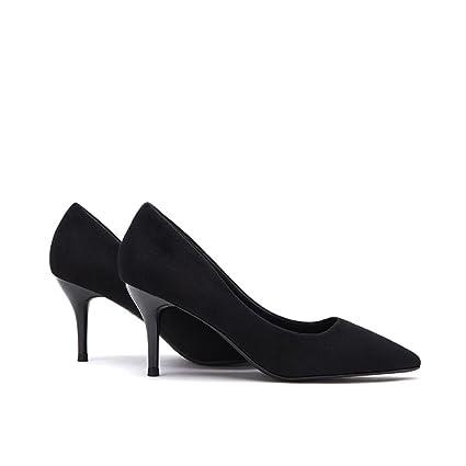 5d657d22 Tacones altos negros finos con zapatos de 6.5cm ( Color : Negro ...