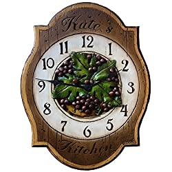 Grape Kitchen Clock personalized with a name