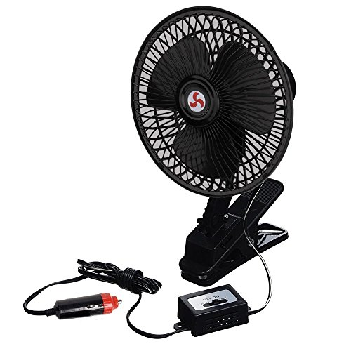 Price comparison product image Zento Deals 12V Portable Oscillating Fan-Universal Sturdy Mounted on Vehicle with Clip