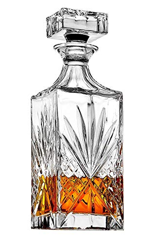 James Scott Crystal Decanter for Whiskey, Liquor and Bourbon - 25 Oz. Lead Free | Irish Cut design | Gift Box (Crystal Classic Decanter)