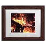 Trademark Fine Art Fireplace by Kurt Shaffer, White Matte, Wood Frame 11x14-Inch