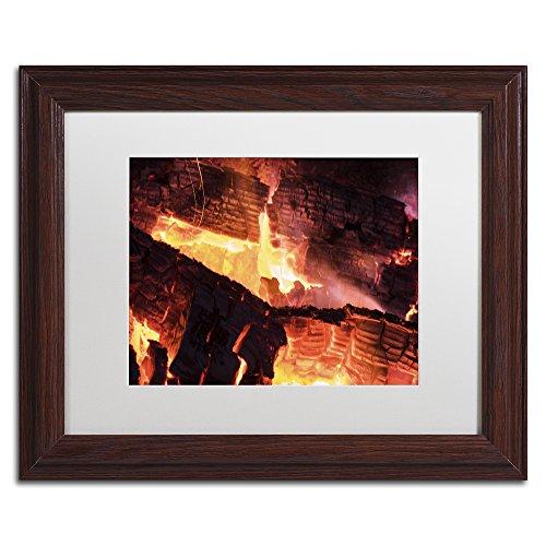 Trademark Fine Art Fireplace by Kurt Shaffer, White Matte, Wood Frame 11x14-Inch by Trademark Fine Art