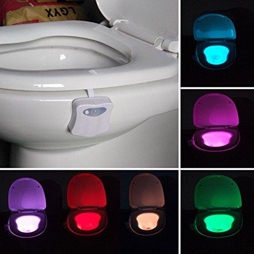 Homily Toilet Night Light, Miatec Motion Activated Toilet Night Motion Bathroom Activated Sensor Toilet Nightlight Body Motion Activated On/Off Seat Sensor Lamp 8 Color PIR Toilet Night Light lamp - Darkening Sunglasses Auto