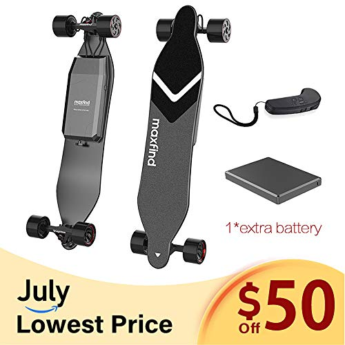 (Maxfind 2019 MAX 4 Series Electric Skateboard,MAX Range Up to 40km/26miles with Extra Battery,1500W Dual Hub Motors, 38 Inches Longboard,New Upgrades (Long Range))