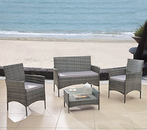 Modern Outdoor Garden, Patio 4 Piece Seat - Grey, Dark Espresso Wicker Sofa Furniture Set (Grey) (Furniture Set Outside)