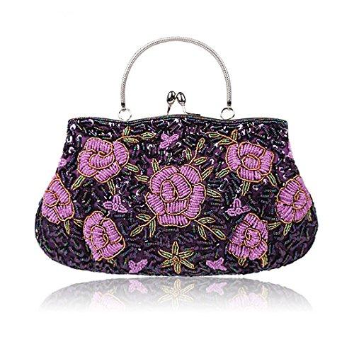 Evening Purple for Bags Women Clutches Wedding Women Flower Purse Clutch Handbags aCxqnBE