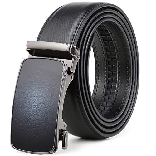 Belt for Men,Leather Ratchet Click Dress Belt With Automatic Slide Buckle Adjustable-35mm Wide (28
