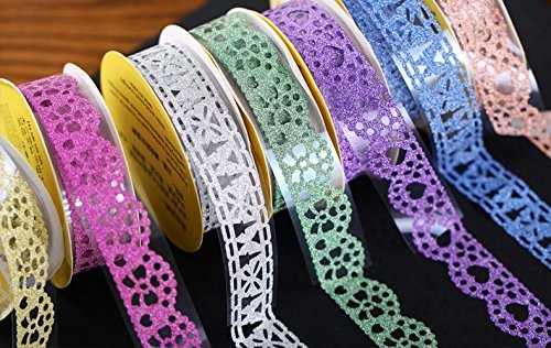 CJESLNA Cute Lace Flower Clear DIY Decorative Tape Masking Tape Sticky Paper Masking Adhesive Tape Scrapbooking &Phone DIY Decoration 3xRoll (Purple+White+Green)