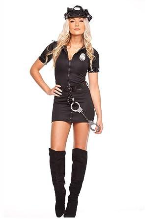 a56ad64440d2c CLUBCORSETS Ladies Black Police Costume Cop Officer Uniform Party Fancy  Dress Outfit Hat (S): Amazon.co.uk: Clothing