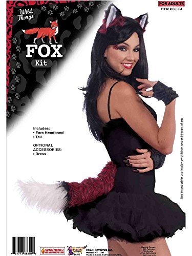 Red Fox Costume Ears Headband and Tail for Women by -