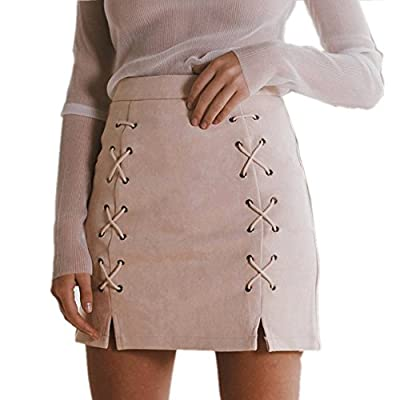LOBiI78lu Women's Classic High Waist Lace Up Bodycon Faux Suede A Line Mini Pencil Skirt