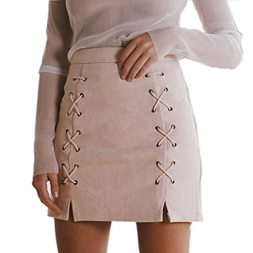 katiewens Women's Classic High Waist Lace Up Bodycon Faux Suede A Line Mini Pencil Skirt Nude Pink