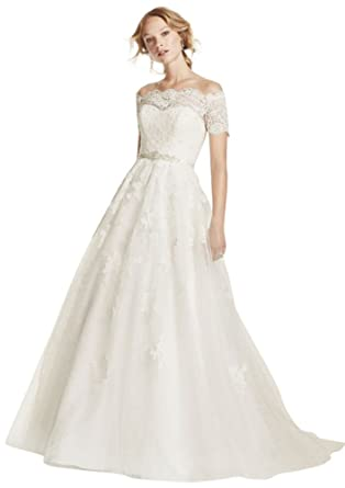 aac3490ead84 David's Bridal Jewel Short Sleeve Off The Shoulder Wedding Dress Style  WG3728, White, ...