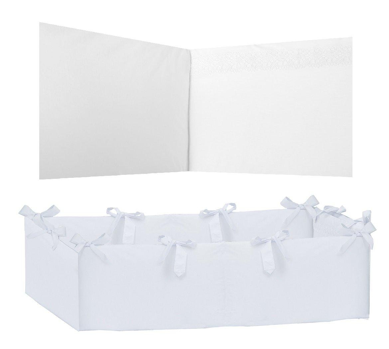 Vizaro - NESTCHEN 360° KOMPLETTE SCHUTZ der Kinderwiege abnehmbar (70x140cm) - 100% BAUMWOLE - Hergestellt in der EU - SICHERES PRODUKT - K. Weiße Stickerei
