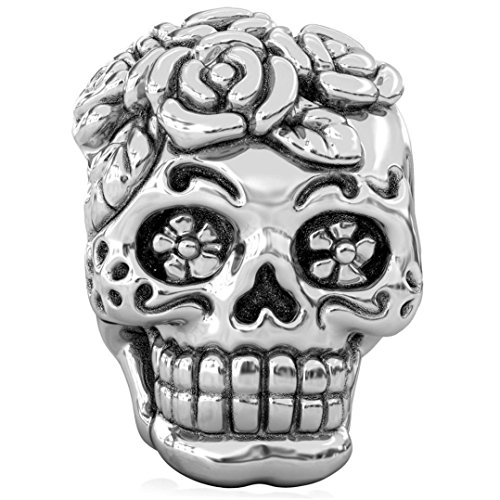 (Authentic BELLA FASCINI Signature Skull Bead Charm - Dia de los Muertos - Silver - Fits European)