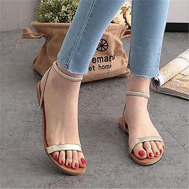 Sandalias de verano casual al aire libre PU cordón del talón plano Gold