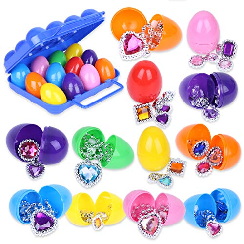 (YOUTH UNION 12 Pieces Easter Eggs Prefilled with Assorted Princess Pretend Jewelry Toys, Colorful Plastic Easter Eggs Filler Set, Easter Basket Stuff, Easter Party Gifts for)