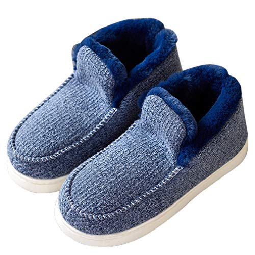 ALOTUS Pom Indoor Blue with Unisex Foam Boot Outdoor Slipper Memory Hand Knit Fur Warm fPqvfr