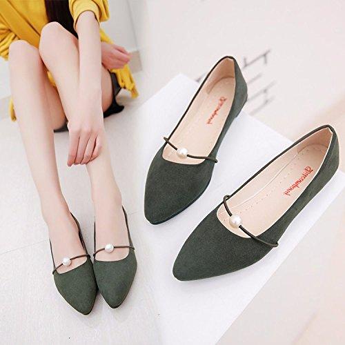 de Bordado Qiqi Estudiante demasiado pequeño Zapatos green de Raso Plano Punta Zapatos es Mujer El Femeninos Singles de Elegante Fondo Xue número Solo un Casual Zapatos Zapatos Soja HqFwZZd0