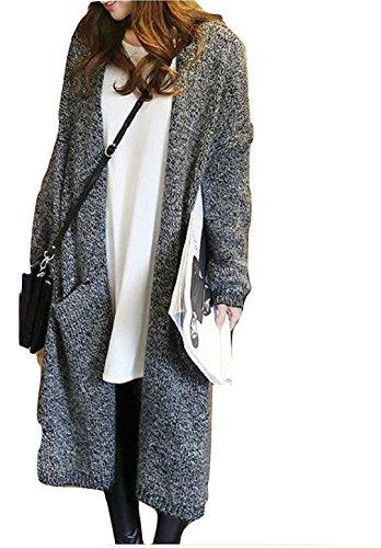 [エムズ ミミ] カーディガン ロング コーディガン ブラック ライトグレー 2色 ポケット付き 体型カバー レディース