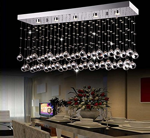 Siljoy Rectangular Modern Crystal Chandelier Lighting for Living Room Dining Room Kitchen Island L31.5″ x W7.9″ x H15″