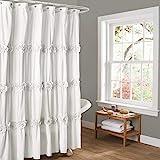 "white shower curtain  Darla Ruched Floral Bathroom Shower Curtain, 72"" x 72"", White"
