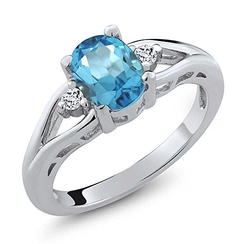 Blue Topaz Purple Ring - Gem Stone King Sterling Silver Swiss Blue Topaz & White Topaz Women's 3-Stone Ring 1.80 cttw, Center: 8x6mm Oval (Size 9)