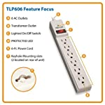 Tripp Lite 6 Outlet Surge Protector Power Strip, 6ft Cord, 790 Joules, Black, & $20,000 INSURANCE (TLP606B) 6 <p>PROTECT ANY ELECTRONIC DEVICE FROM POWER SURGES & SPIKES: Surge Protector with six outlets and protects your PC, personal computer, laptop, printer, scanner, router, phone, fax, modem, television, lamp or any other home/office electronics from dangerous power surges, spikes & line noise ECONOMICAL AC SURGE PROTECTION: This surge suppressor provides six total NEMA 5 15R outlets, one of which is placed at the end to accept a bulky transformer without blocking adjacent outlets. The 6 feet AC power cord with NEMA 5 15 P plug provides to ability to reach distant outlets SAFETY FIRST! CONFORMS TO UL 1449 SAFETY STANDARDS: 15 ampere resettable circuit breaker. A diagnostic LED confirms your connected equipment is protected. 790 joules means protection for your equipment. Conforms to current UL 1449 3rd Edition safety standards BLACK HOUSING AND CONVENIENT OPTIONS FOR PLACEMENT IN ANY ENVIRONMENT: 6 feet AC power cord with NEMA 5 15 P plug offers keyhole slots on bottom panel for convenient wall mounting LIFETIME WARRANTY, $20,000 INSURANCE: Lifetime Limited Warranty and $20,000 Ultimate Lifetime Insurance covers any connected equipment damaged by a power surge</p>
