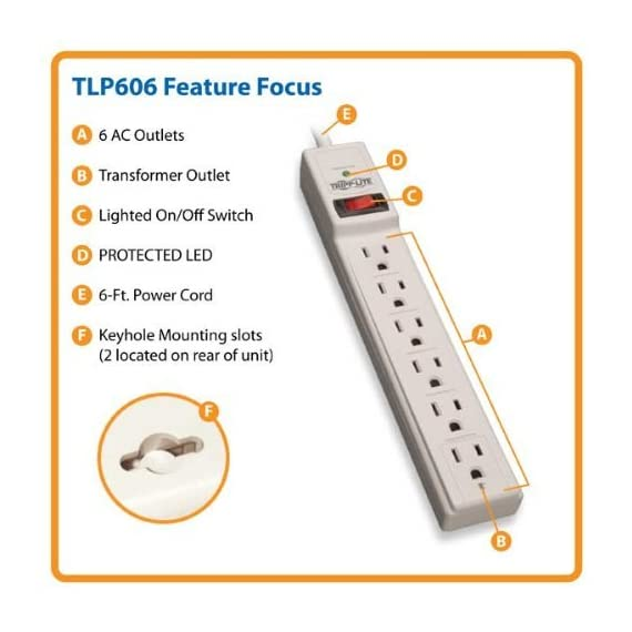 Tripp Lite 6 Outlet Surge Protector Power Strip, 6ft Cord, 790 Joules, Black, & $20,000 INSURANCE (TLP606B) 2 <p>PROTECT ANY ELECTRONIC DEVICE FROM POWER SURGES & SPIKES: Surge Protector with six outlets and protects your PC, personal computer, laptop, printer, scanner, router, phone, fax, modem, television, lamp or any other home/office electronics from dangerous power surges, spikes & line noise ECONOMICAL AC SURGE PROTECTION: This surge suppressor provides six total NEMA 5 15R outlets, one of which is placed at the end to accept a bulky transformer without blocking adjacent outlets. The 6 feet AC power cord with NEMA 5 15 P plug provides to ability to reach distant outlets SAFETY FIRST! CONFORMS TO UL 1449 SAFETY STANDARDS: 15 ampere resettable circuit breaker. A diagnostic LED confirms your connected equipment is protected. 790 joules means protection for your equipment. Conforms to current UL 1449 3rd Edition safety standards BLACK HOUSING AND CONVENIENT OPTIONS FOR PLACEMENT IN ANY ENVIRONMENT: 6 feet AC power cord with NEMA 5 15 P plug offers keyhole slots on bottom panel for convenient wall mounting LIFETIME WARRANTY, $20,000 INSURANCE: Lifetime Limited Warranty and $20,000 Ultimate Lifetime Insurance covers any connected equipment damaged by a power surge</p>