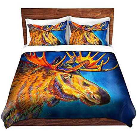 DiaNoche Designs Teshia Moose Blues Brushed Twill Home Decor Bedding Cover 8 King Duvet Sham Set