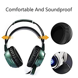 HaloVa Gaming Headset, Noise Cancelling Over-Ear Headphone, Professional Computer Game Headset for PS4, PC, Xbox One Controller PUBG, Black