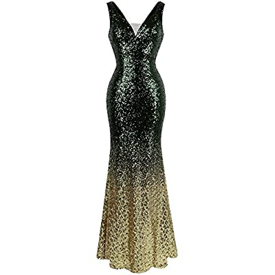 Angel-fashions Women's V Neck Glitter Sequin Gatsby 20s Flapper Evening Dress at Women's Clothing store