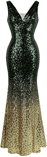 Angel-fashions Women's Flapper V Neck Sparkle Sequin Gatsby 20s Evening Gowns XLarge Green Gold