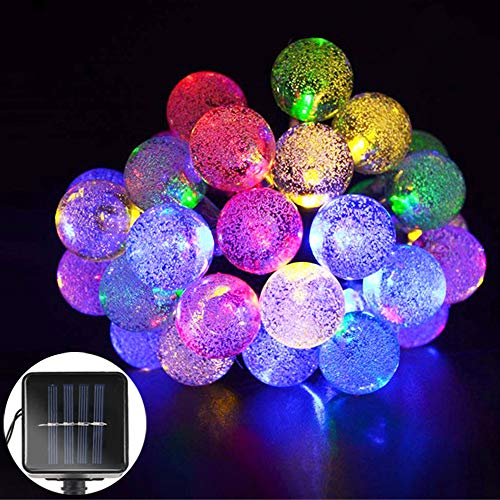 - Solar Outdoor Bulb String Lights, Ollny Solar Powered 15ft 30 LED Waterproof Globe Ball Patio Garden Crystal Fairy Light Christmas Xmas Tree Decorations(Multi-color)