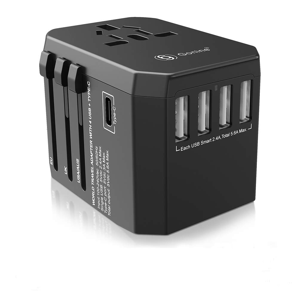 Universal USB Travel Adapter, Worldwide International All In One Wall Outlet European Charger, AC Power Plug Converter with 4 USB and Type C Ports For EU UK US AUS & Asia. (4 usb charger)