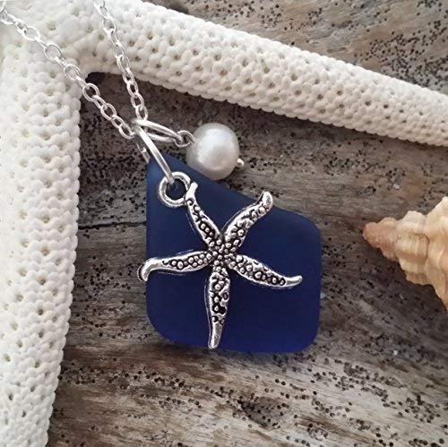 Handmade in Hawaii, cobalt sea glass necklace, starfish charm, fresh water pearl, sterling silver chain, Hawaiian Gift, FREE gift wrap, FREE gift message, FREE shipping