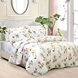 FADFAY Butterfly Meadow Duvet Cover Set 3-Piece Hypoallergenic 100% Cotton Stain Drill Farmhouse Bedding Floral Bedding with Hidden Zipper Closure 3 Pieces, 1duvet Cover & 2pillowcases, Twin Size