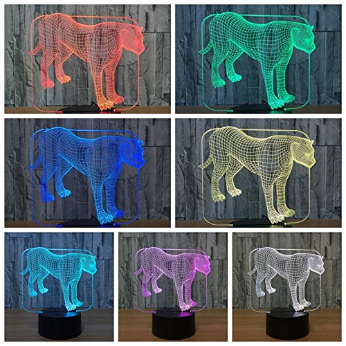 Lamp Dimmable Touch & Remote Control Leopard 7 Colors Light Battery Or USB Powered Boys Girl Toy Decor for Christmas Birthday Party Gifts Children Kids Bedroom ()