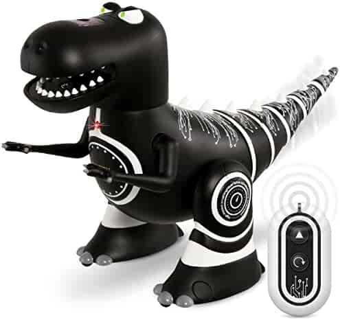 SHARPER IMAGE Remote Control Mini RC Robotosaur Dinosaur Toy for Kids, Miniature Futuristic Sci-Fi Robot T-Rex Moving Action Figure with Infrared Technology, Battery Operated ñ Black Body