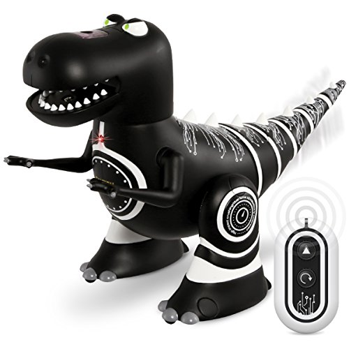 Sharper Image Remote Control Mini RC Robotosaur Dinosaur Toy for Kids, Miniature Futuristic Sci-Fi Robot T-Rex Moving Action Figure with Infrared Technology, Battery Operated - Black Body ()